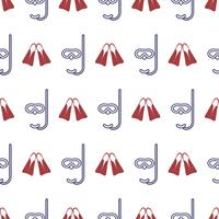 Nautical seamless pattern with flippers and diving mask.