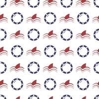 Nautical seamless pattern with anchor and porthole vector