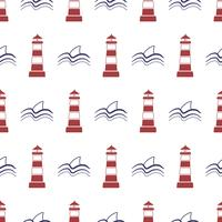 Nautical seamless pattern with lighthouse and shark. vector