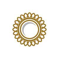 Cadre doré fleur logo modèle Illustration Design. Vecteur EPS 10.