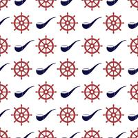 Nautical seamless pattern with wheel and tabacco pipe.