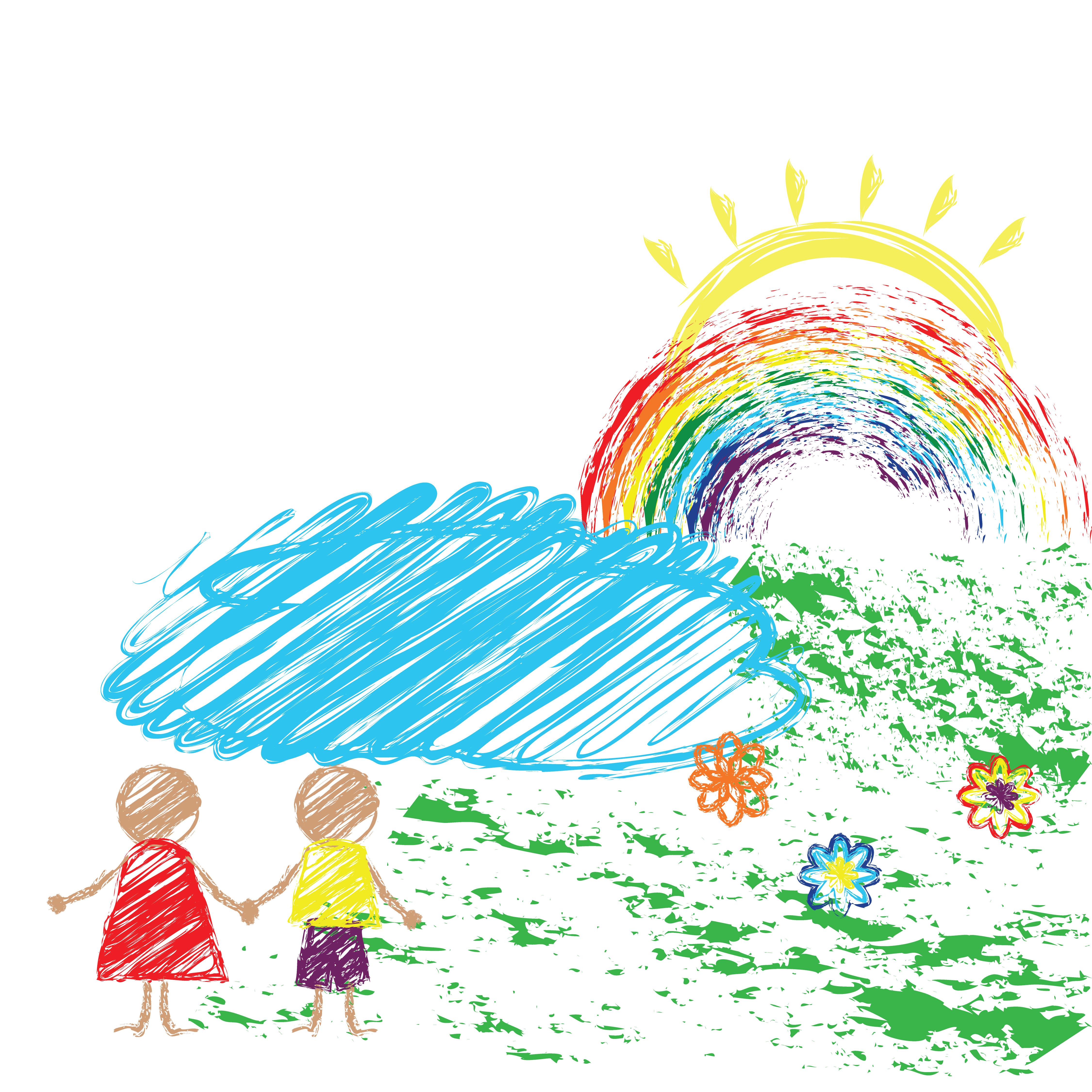 Lapis De Desenho Infantil Com A Imagem Das Criancas E O Arco Iris