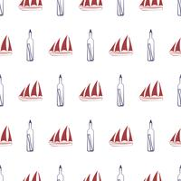 Nautical seamless pattern with ship and bottle.