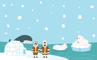 North pole Artic vector background