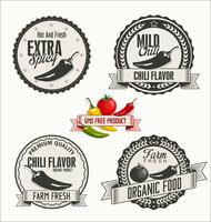 Set of Organic and Bio Vegetables Badges in Vintage Style