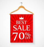 Sale promotion with wire hanger and banner