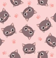 cute head cat seamless Pattern