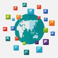 Ícones de mídia social no globo do mundo