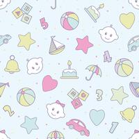 Baby spielt nahtloses Muster. Kann für Textilien, Papier und anderes Design verwendet werden.