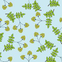 Children s seamless pattern with branches, leaves, berries.