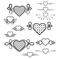 Set di divisori con l'immagine del cuore. Vettore