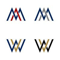 AM, MA, WV, VW Brief Logo Template Illustratieontwerp. Vector EPS 10.