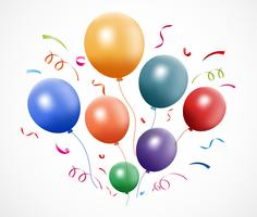 Colorful birthday with balloon and confetti