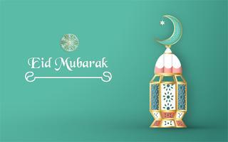 Modello per Eid Mubarak con tonalità di colore verde e oro. Illustrazione di vettore 3D nel taglio e mestiere del mestiere per la cartolina d'auguri islamica, invito, copertina di libro, opuscolo, insegna di web, pubblicità.