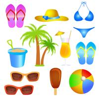 ensemble d'objet de plage de vacances d'été