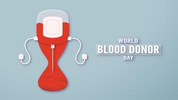 Element dekoration för världens blodgivardag den 14 juni. Vektor illustration i pappersskärning och hantverk stil. Denna design är för affisch, banner, annonsering.
