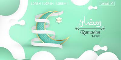 Sjabloon voor Ramadan Kareem met groene en gouden kleur. 3D Vectorillustratieontwerp in document en ambacht voor Islamitische groetkaart, uitnodiging, boekdekking, brochure, Webbanner, reclame die wordt gesneden.