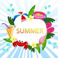 belo tema de oceano de vetor de cartão de verão com jogo de praia