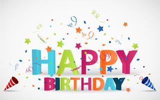 Fondo de feliz cumpleaños con fiesta popper