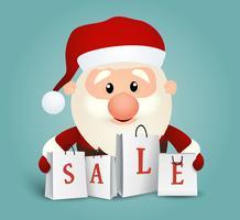 Santa con fondo de bolsas de la compra