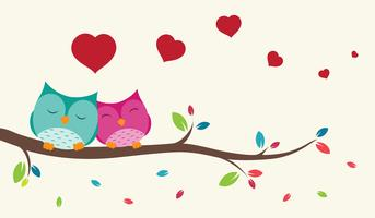 Couple of birds in love vector