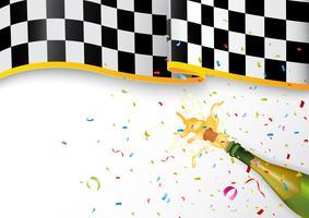 Campeón de celebración con explosión de champán y confeti.