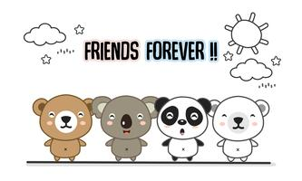 Friends forever greeting card with little animals. Cute bears cartoon vector illustration.