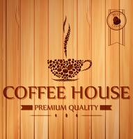 Vintage coffee poster on wooden background
