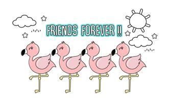 Cute pink flamingo with her friends.