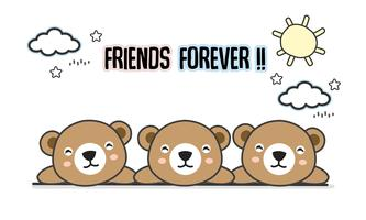 Friends forever bears vector illustration
