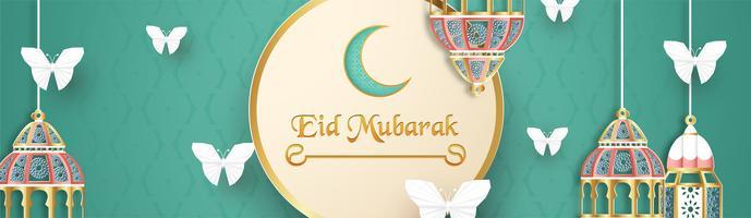 Sjabloon voor Eid Mubarak met groene en gouden kleurtint. 3D-vectorillustratie in papier knippen en ambacht voor islamitische wenskaart, uitnodiging, boekomslag, brochure, webbanner, advertentie.
