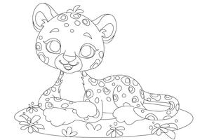 Baby leopard cute cartoon outline drawing vector