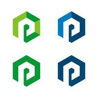 set P Brev i Hexagon Shape Logo Illustration Design. Vektor EPS 10.