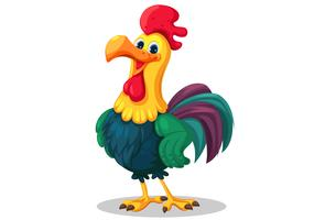 Rooster standing cartoon vector illustration