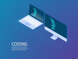 coding with laptop vector isometric
