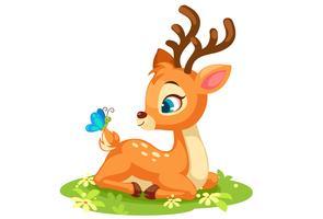 Cute baby deer sitting vector
