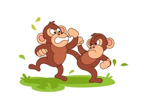 Chimpanzee fighting cartoon vector