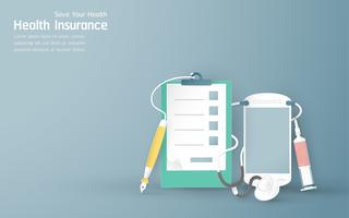 Vector illustration in concept of health insurance. Template element design is on pastel blue background for cover, web banner, poster, slide presentation. Art Craft for kid in 3D paper cut style.