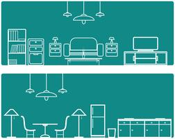 Interior Banner set .with furniture illustration vector