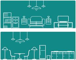 Conjunto de banner interior. Con ilustración de muebles.