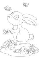Gullig kanin med fjäriltecknad ritning