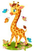 Nette Giraffe, die mit Schmetterlingen spielt