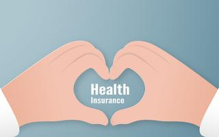 Illustration vectorielle dans le concept de l'assurance maladie. Modèle est sur fond bleu pastel pour la couverture, bannière Web, affiche, présentation de diapositives Art Craft pour enfant en 3D, style de coupe.