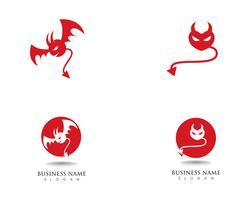 Vektor-Ikonenschablone des Teufellogos rote