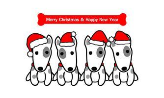 Merry Christmas Cute Terrier Dog Cartoon. Vector illustratie.