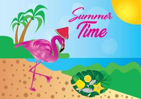 Summer time background with pink flamingos gathering food