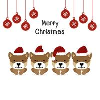Merry Christmas greeting card with Dogs in costumes Santa Claus.