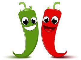 Desenho animado feliz Pimenta vermelha e verde