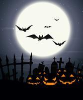 Halloween-Hintergrund mit Vollmond und furchtsamen Kürbisen