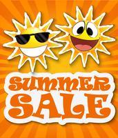 Fundo de venda de verão com sol sorridente